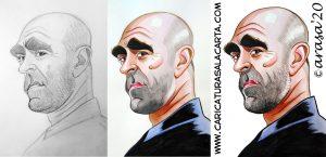 proceso creación caricatura Luis Tosar