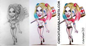 proceso creación caricatura Margot Robbie Harley Quinn