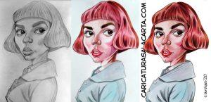 Fases proceso creación caricatura Anya Taylor-Joy